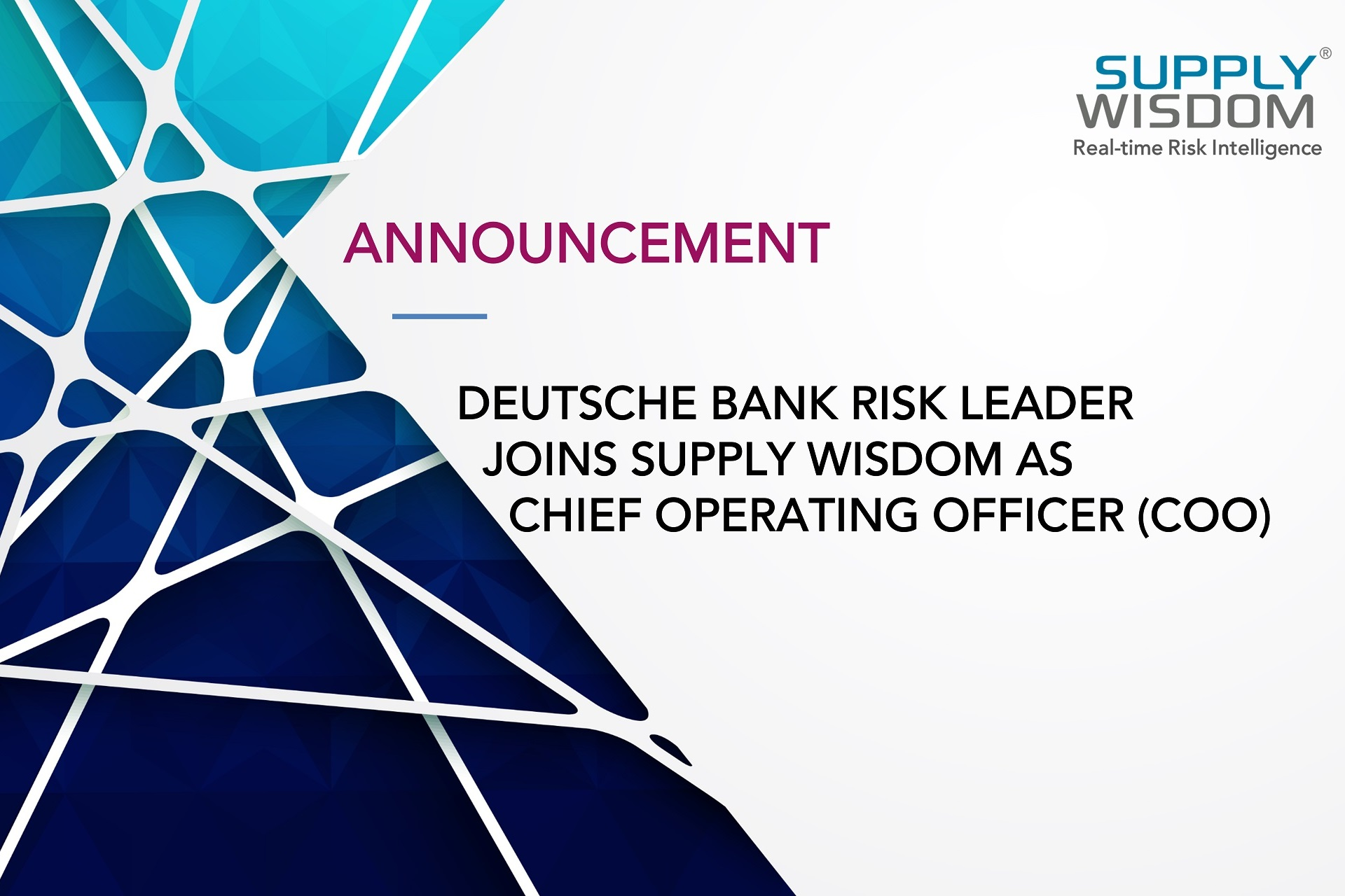 Deutsche Bank Risk Leader Victor Meyer Joins Supply Wisdom COO