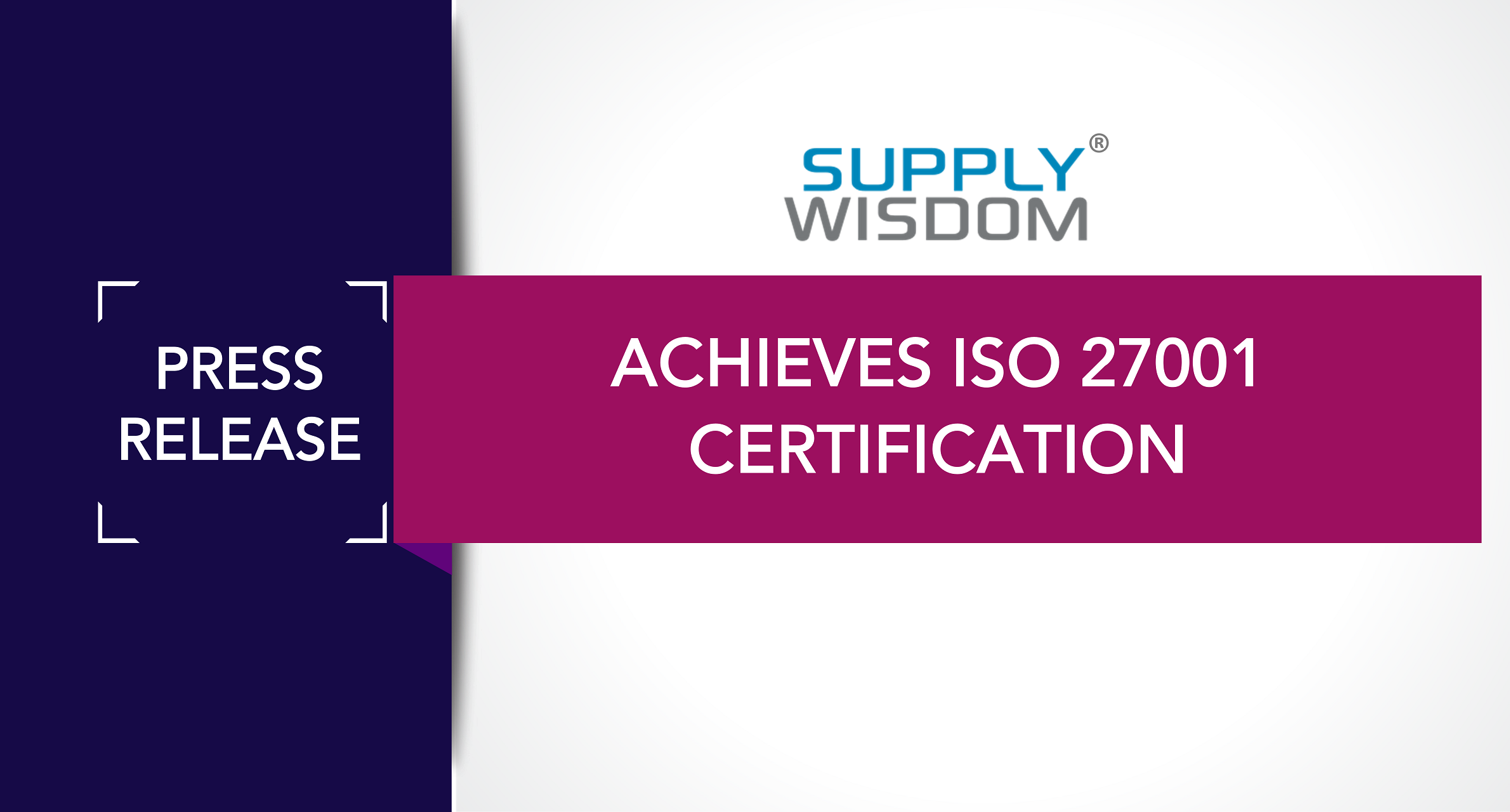 Supply Wisdom ISO 27001 Certified