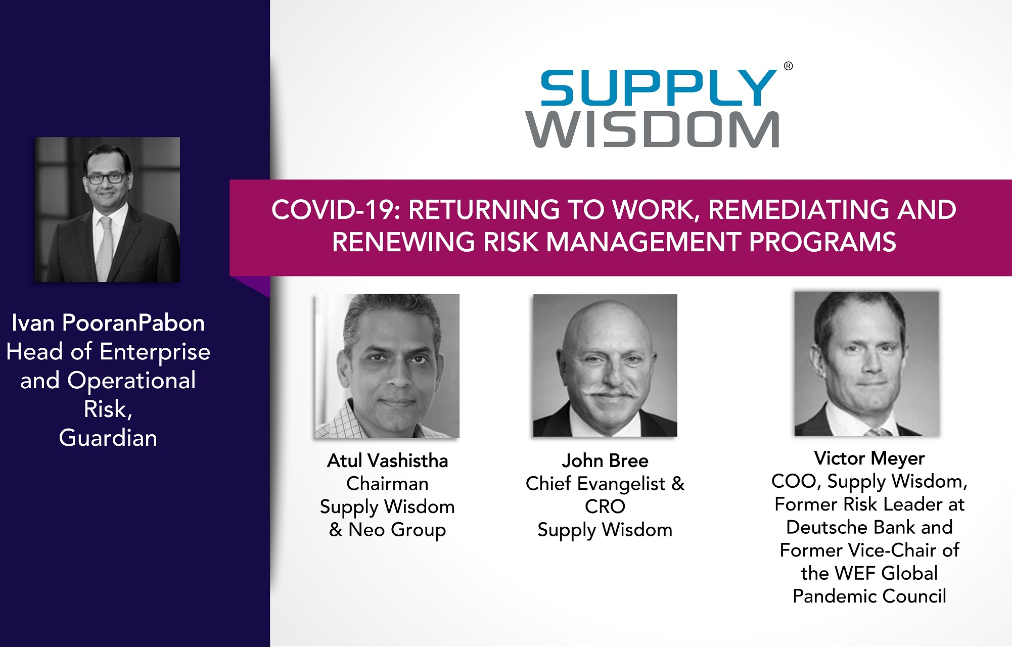 Supply Wisdom Compliance Week Returning to Work Webinar_Speakers