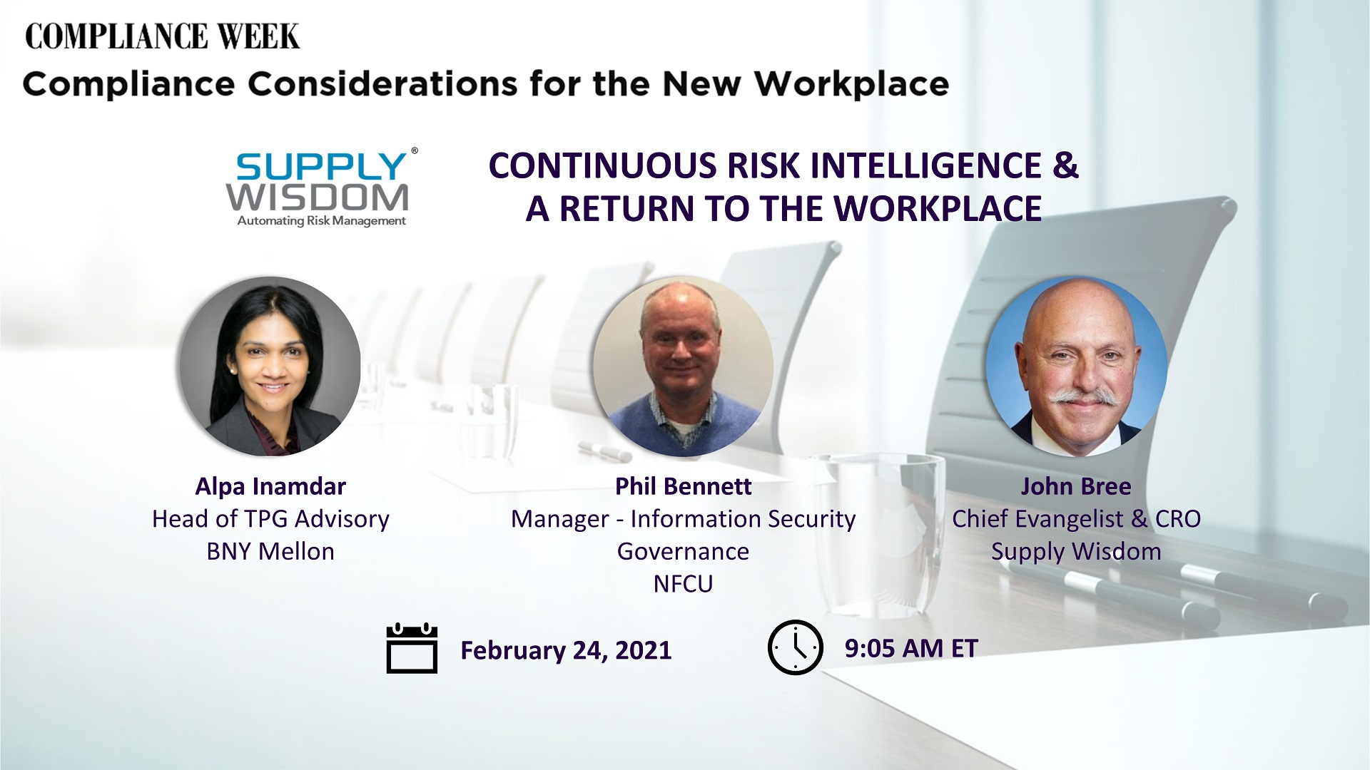 Supply Wisdom presents keynote on Continuous Risk Intelligence at Compliance Week event
