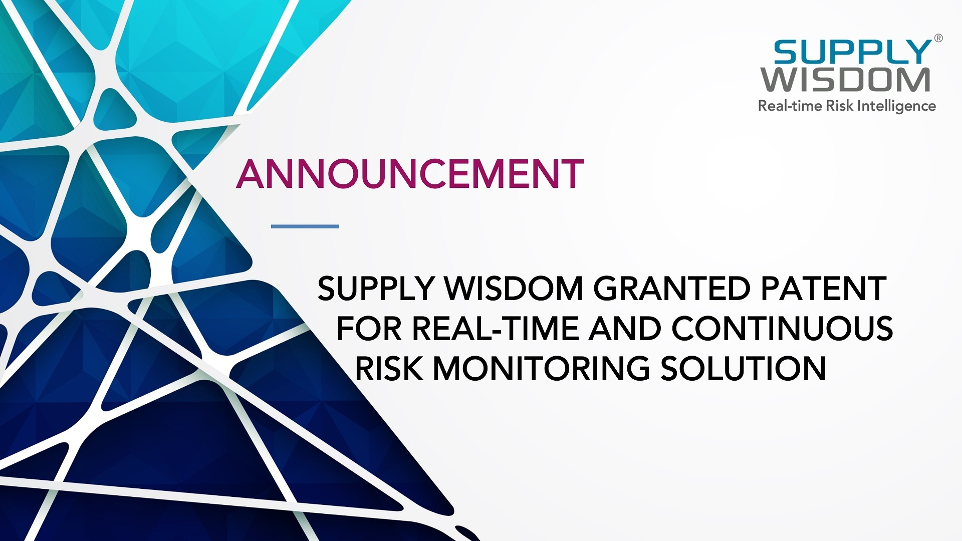 Supply Wisdom granted patent for continuous risk monitoring