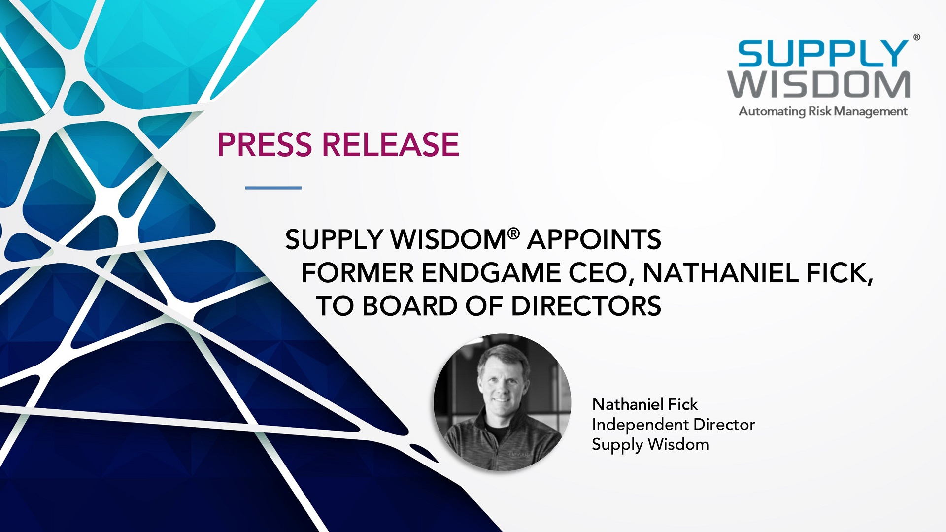 Nathaniel Fick joins Supply Wisdom Board of Directors