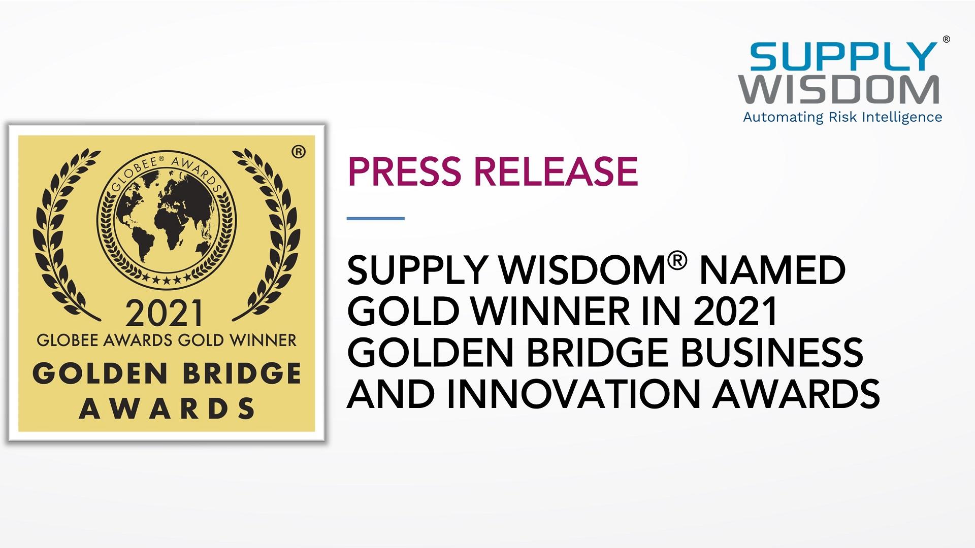Supply Wisdom Wins Golden Bridge Globee Award for Risk Management Innovation