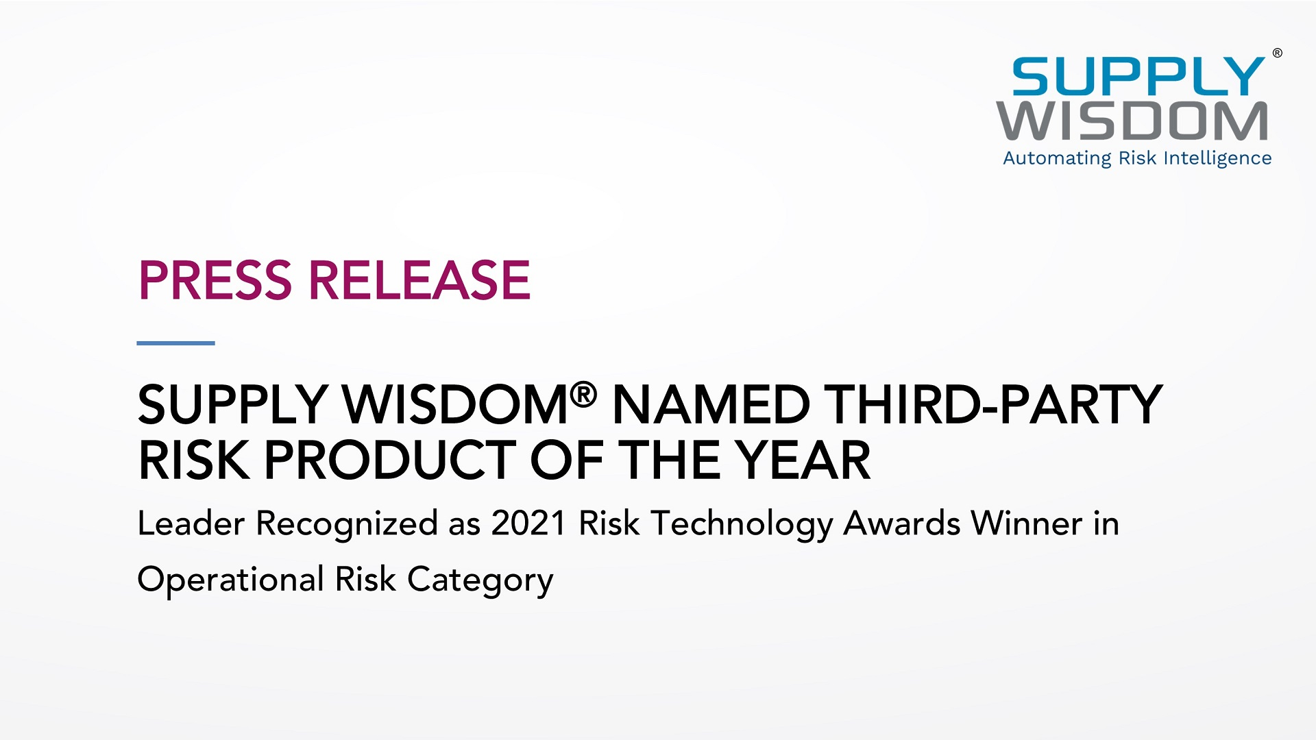 Supply Wisdom is Third Party Risk Product of the Year 2021